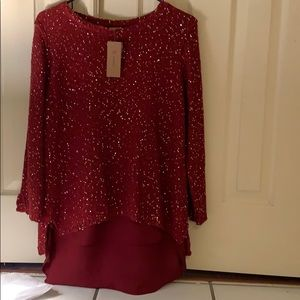 Cremieux sequin sweater shell with tunic